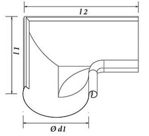 image of the lead coated copper inside corner miter dimensions